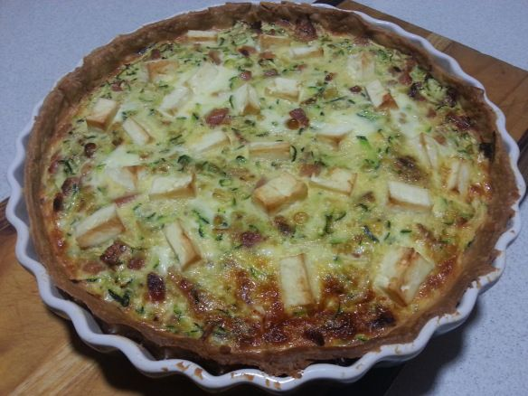 E for bacon and zucchini Eggy quiche