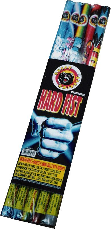 Hard Fist Asst 10 Ball - North Central Industries - www.greatgrizzly.com - MUNCIE INDIANA WHOLESALE FIREWORKS •Item Number: 483 •Package Contents: 36-5 •Dimensions: 18 x 4 x 1 •Weight: 38lbs Brand Name: Great Grizzly  DESCRIPTION: Blue Lightening - 10 pearls with report Wizard Candle - 8 pearls with whistle & report Thundering - 10 silver flash with thunder Muti Color Candle - 10 green & red pearls  Crackling - 10 crackling shots  Roman candles are not meant to be handheld.