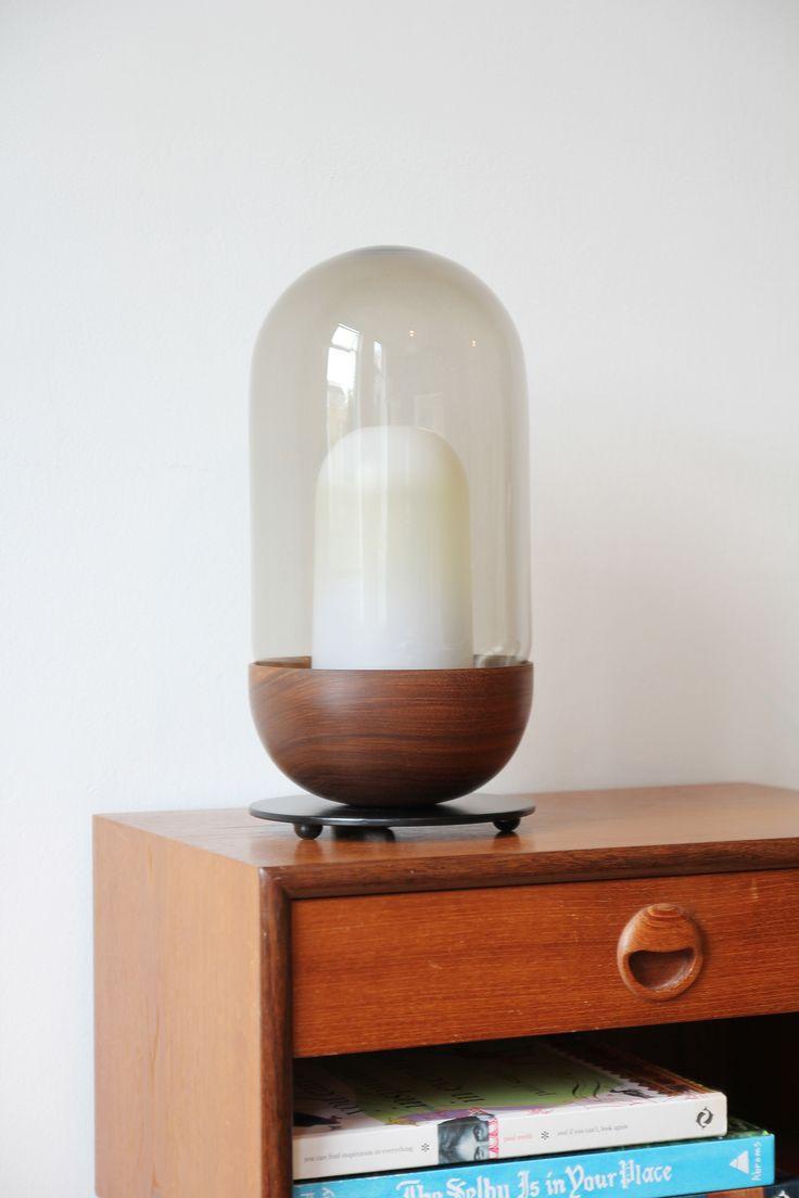 Bell - table lamp. walnut. smoked glass.  http://www.magnuspettersen.com