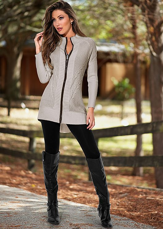 Grey Faux Leather Trim Cardigan Legging Riding Boot From