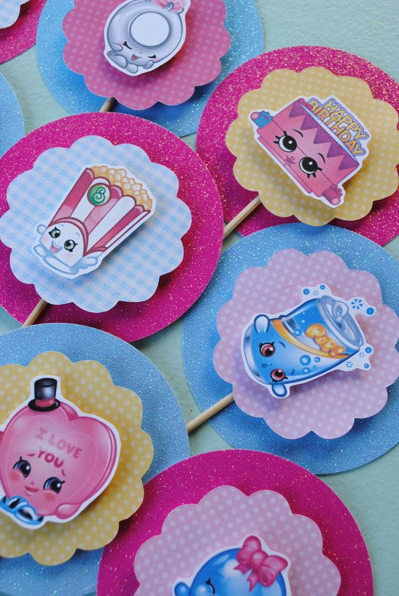 Twelve Shopkins Cupcake Toppers, customizable toppers. You get to choose which shopkins you would like. I have over 200 Shopkins to choose