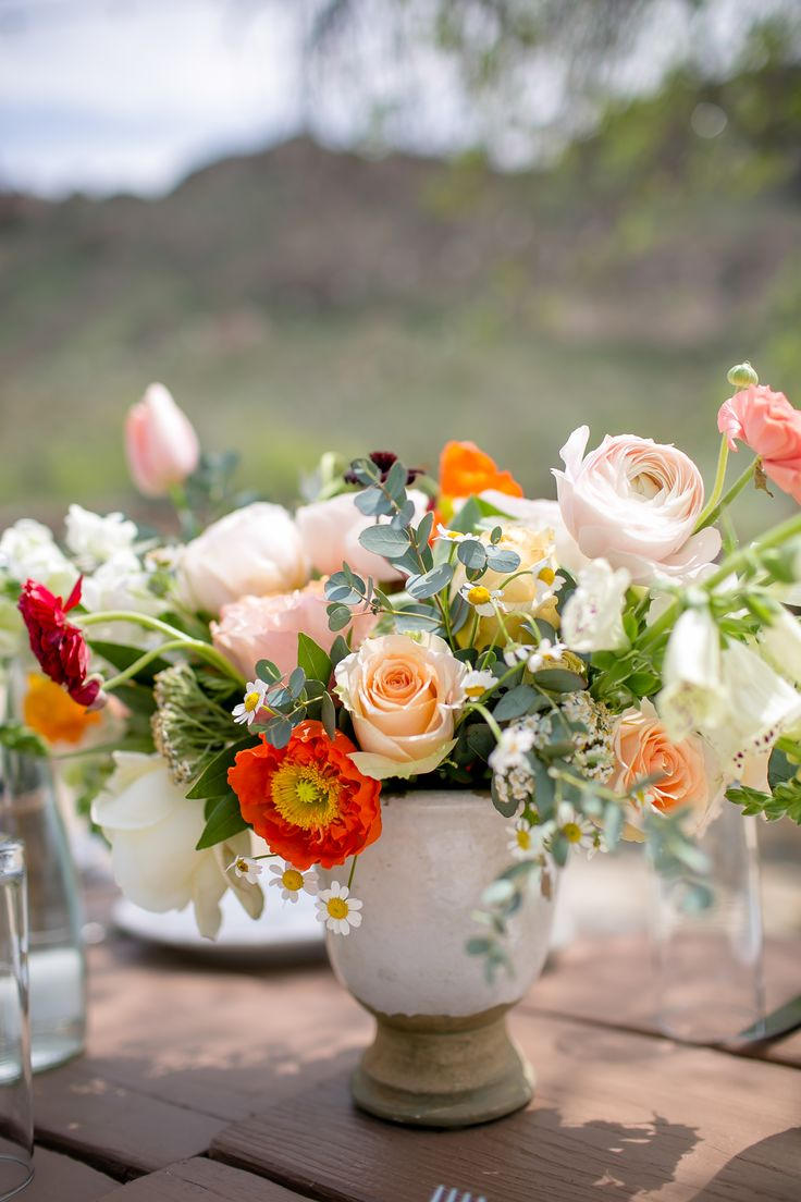 Red and Peach Poppy and Garden Rose Centerpieces. Incorporate more green age and not quite so much sage