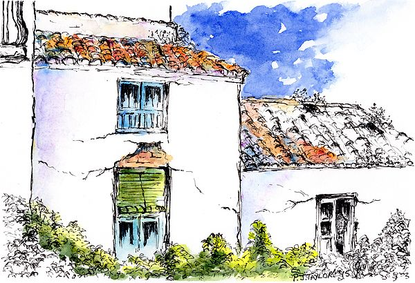 Old Cottages Torrox Spain pen and Watercolour Wash