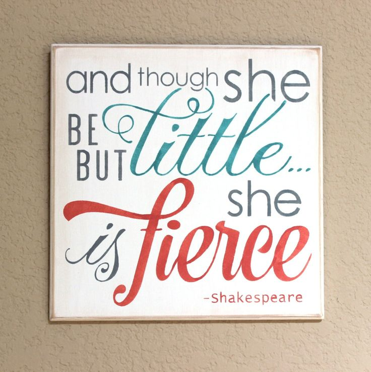 And though she be but little she is fierce - Hand Painted Wooden Sign - 12 x 12 - coral and teal - Girl's room - Nursery - Baby Girl by CantonAntiques on Etsy