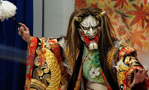 Hachiman, the god of war and the protective deity of samurai in kagura, Shinto theatrical dance.