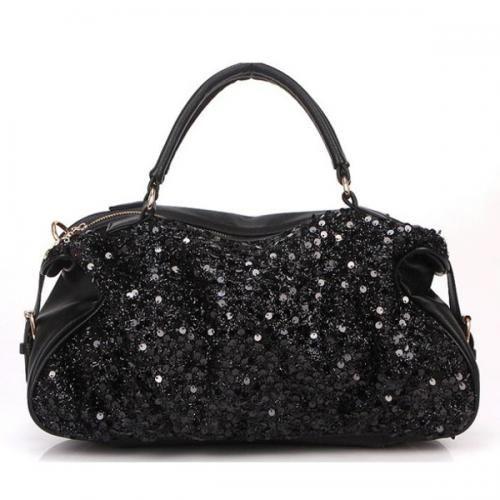 Black Allover Sequins Decor Luxury Handbag