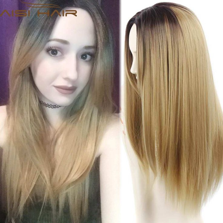 Blonde Ombre Wig Synthetic Wigs for Women Sale Blonde Wig Dark Roots Ombre Two Tone Wigs Long Ombre Straight Hair