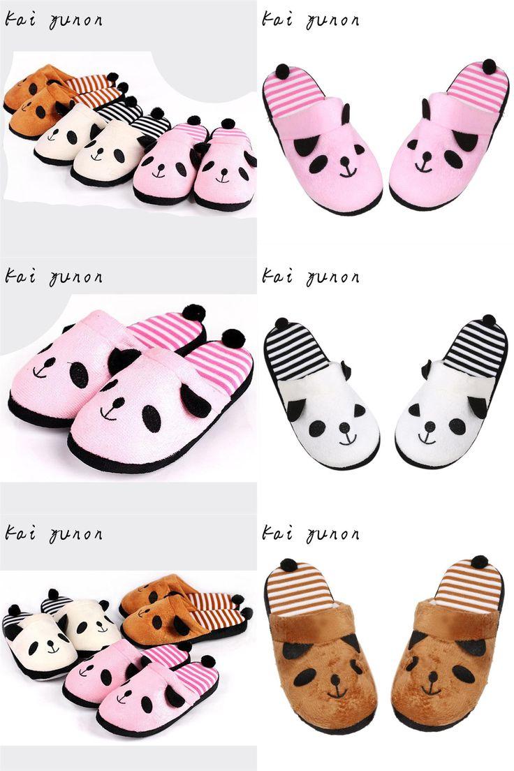 [Visit to Buy] kai yunon Lovely Cartoon Panda Home Floor Soft Stripe Slippers Female Shoes 36-40 Oct 6 #Advertisement