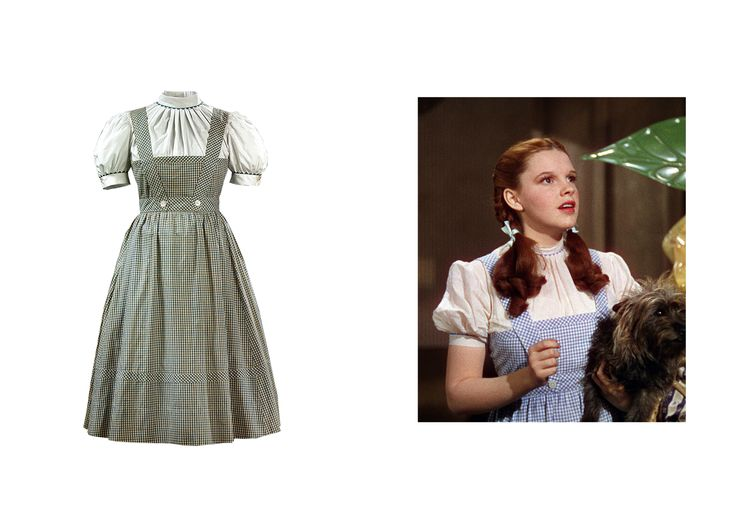 Pictured: (from left) Costume for Dorothy Gale, The Wizard of Oz, 1939; A still from The Wizard of Oz, 1939 - Photo: Western Costume Company/Courtesy of V&A Publishing; Courtesy of © MGM