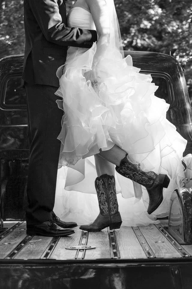 Cowgirl boots with wedding dress www.MadamPaloozaEmporium.com www.facebook.com/MadamPalooza