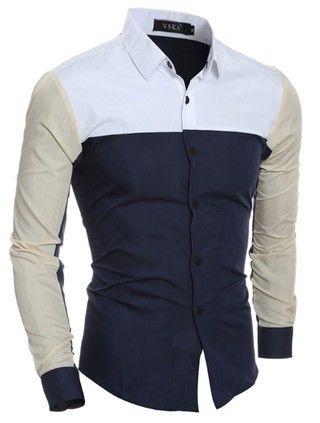 Camisa Casual/Social Moderna - Mix Colors - en Azul Oscuro y Negro