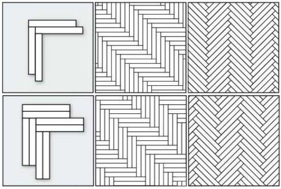 Схемы одинарной и двойной укладки паркета елочкой
