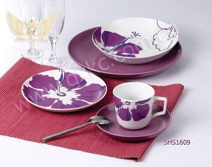 Fine China Dinner Sets purple | colorful coupe shape fine ceramic porcelain dinner sets with flower & 102 best China images on Pinterest | Tea time Teacups and Tea pots