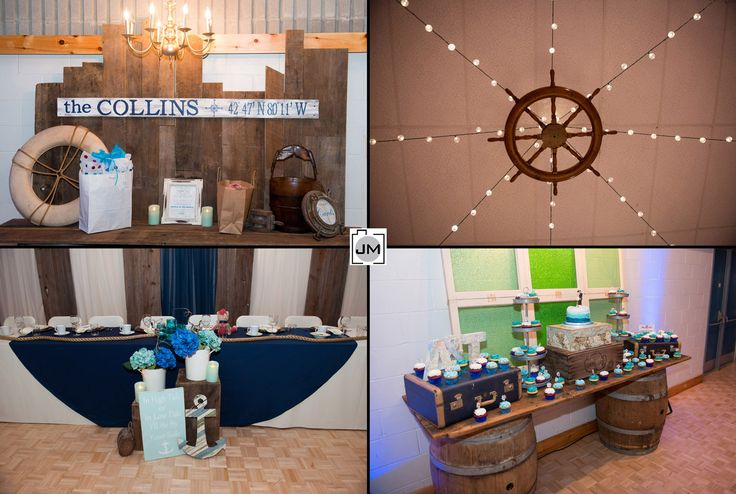Port Dover Community Centre Wedding and a nautical themed wedding, with everything from the ships steering wheal, to an anchor, to maps and compass directions.  Awesome theme!