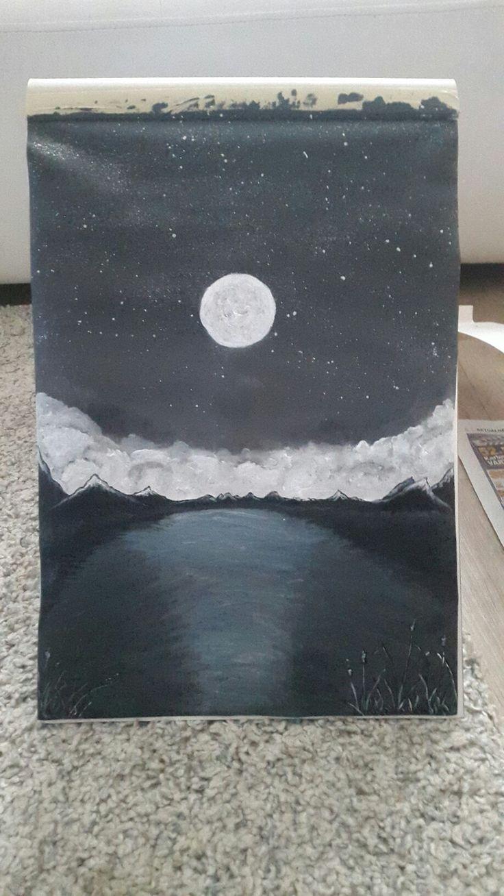 Acrylic painting, full moon, mountines, lake
