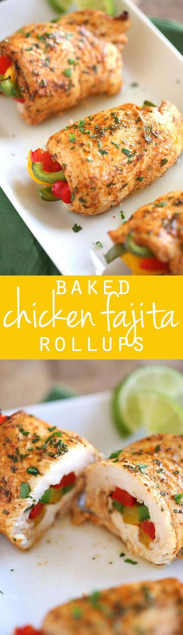 These Baked Chicken Fajita Roll-Ups are easy to make, super moist and make the perfect delicious low-carb meal!  eat-yourself-skinny.com