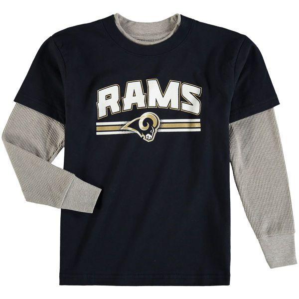 Los Angeles Rams Preschool Fan Gear Bleachers Faux Layer Long Sleeve T-Shirt - Navy - $21.99