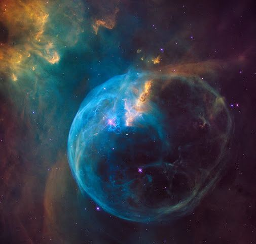 Hubble Sees a Star 'Inflating' a Giant Bubble | HAPPY 26th ANNIVERSARY, HUBBLE!  The #BubbleNebula (#NGC7635) has another star that will end up blowing up into a supernova, the star is 45 times more massive than our sun.