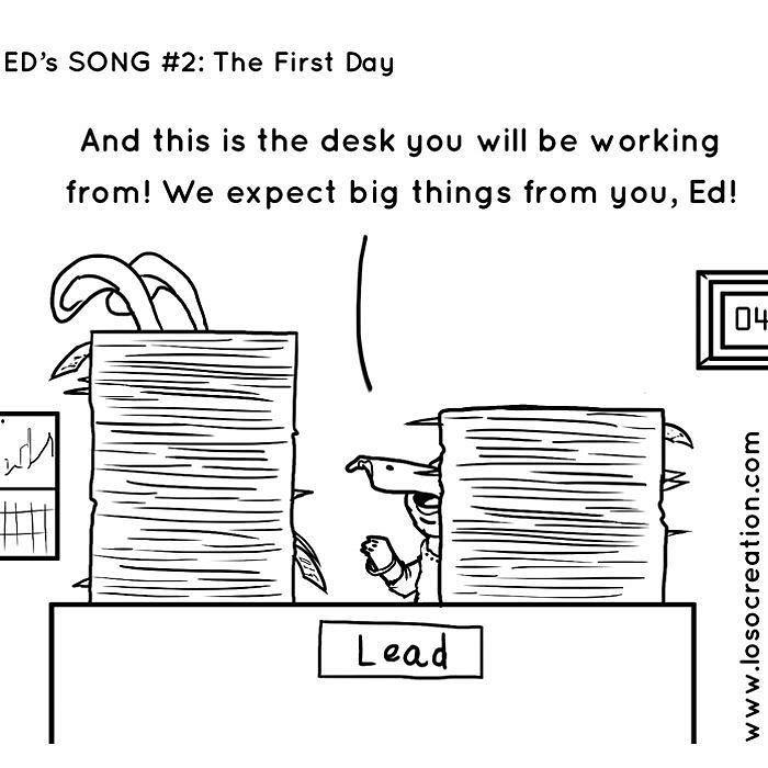 Ed's Song #2. He got the job! Now what? #comic #webcomic #comicbook #loso #losocreation #bunny #santaana #smallbusiness #design #graphicdesign #officework #newemployee #training #screenprinting #illustration #art #digitalart