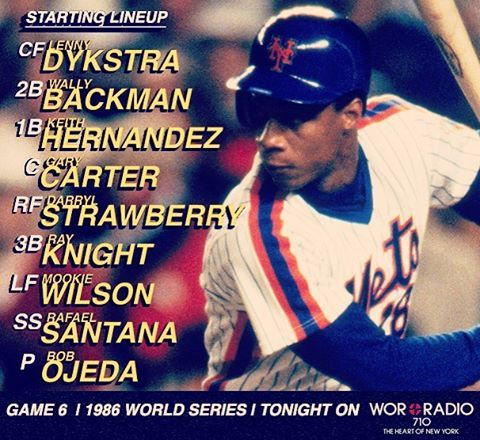 mets | Tonight's lineup for Game 6 of the World Series.  WOR 710 #Mets86 #YGB