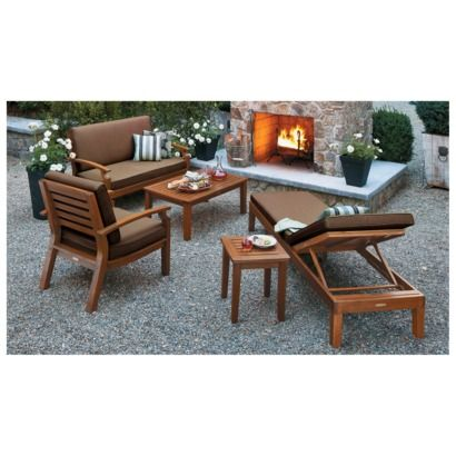 Smith Hawken Brooks Island Wood Patio Conversation Furniture Collection Espresso Garden