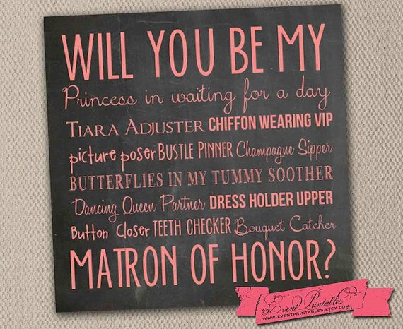 Will You Be My Matron of Honor Card Instant by EventPrintables
