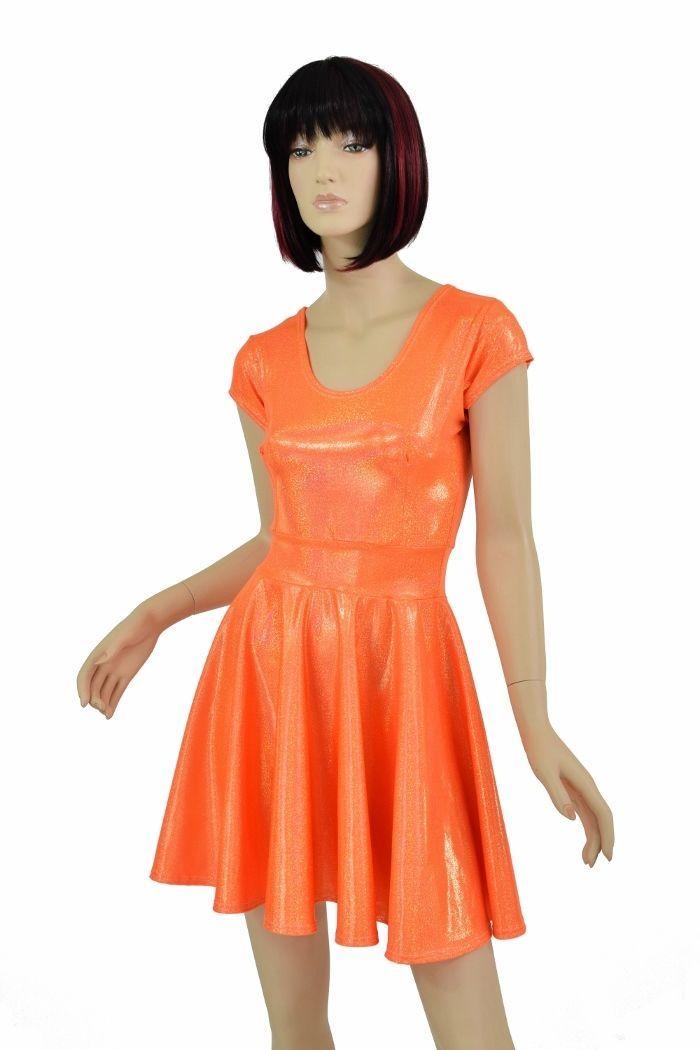 Orange Sparkly Jewel Scoop Neck Cap Sleeve Spandex Skater Dress Made To Order!
