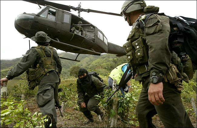 Accompanied by a hooded informer, a former worker in cocaine labs, a Colombian police antinarcotics unit lands at a coca field in a rural area in the south of the country. Many acres of coca plants have been destroyed.