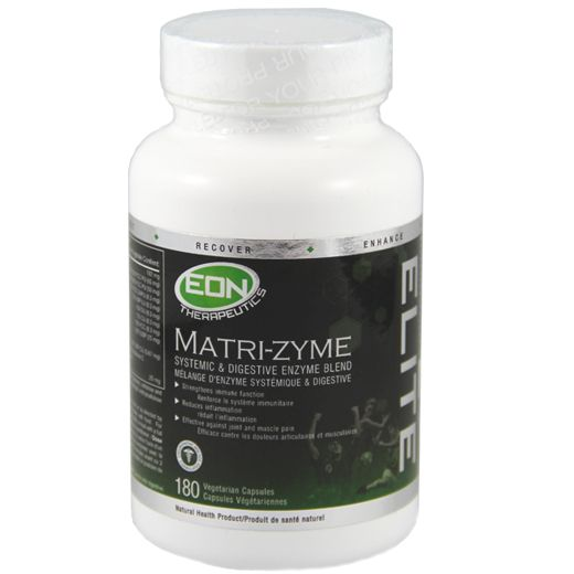 EON's Matri-zyme is a multi-enzyme formula designed to reduce inflammation, fight pain, improve nutrient absorption, and strengthen immunity. Enzymes are important for everyone living a healthy, active life because they reduce recovery time and facilitate adaptation and repair processes that help the body become fitter, stronger and faster.