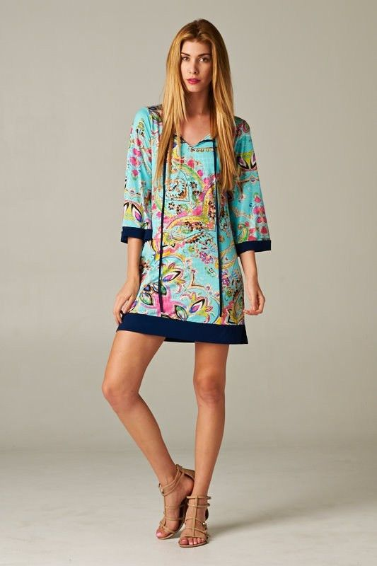 $45 - Paisley Print Contrast Tunic Dress from Betsy Boos Boutique