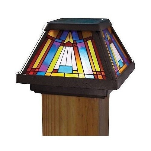 TIFFANY STYLE SOLAR STAINED GLASS LIGHT SET OF 2 4x4 POST CAP LED DECK LAMP TWO #Moonrays