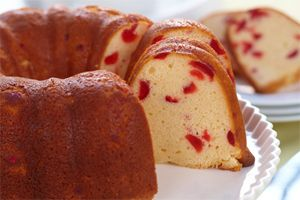 Cherry Pound Cake- This yummy pound cake has a cherry-luscious burst of flavour in every bite. Not only is it moist and rich, it s also dunkably delicious.