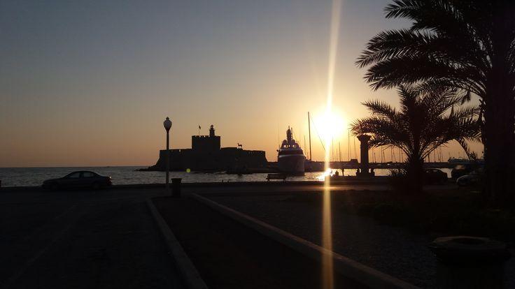 Entrance of the port of Mandraki, Rhodes Greece