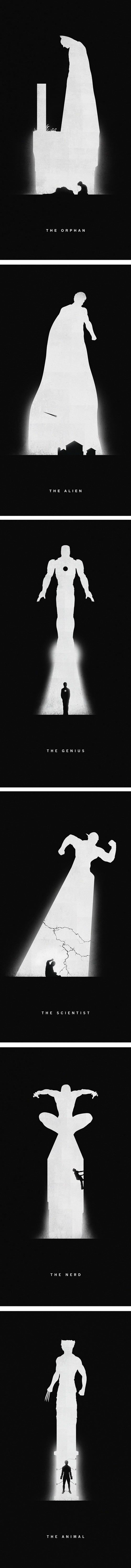Superhero Posters. It uses positive and negative space, as well as a couple words to explain how the super hero came to be. I like how creative and simple the designs are, and how the history and stereotype of the super hero are clear without too much detail.
