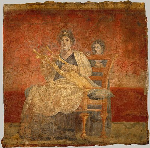 Seated woman playing a kithara. From Room H of the Villa of P. Fannius Synistor at Boscoreale, ca. 40–30 B.C.; Late Republican Roman. Wall painting; fresco.