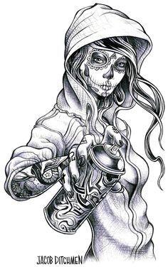 Gypsy Gangsta Girl Tattoo Design