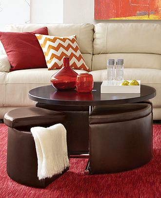 adjustable height!!! - Neptune Coffee Table with Storage Ottomans - furniture - i totally want this for living room!!!