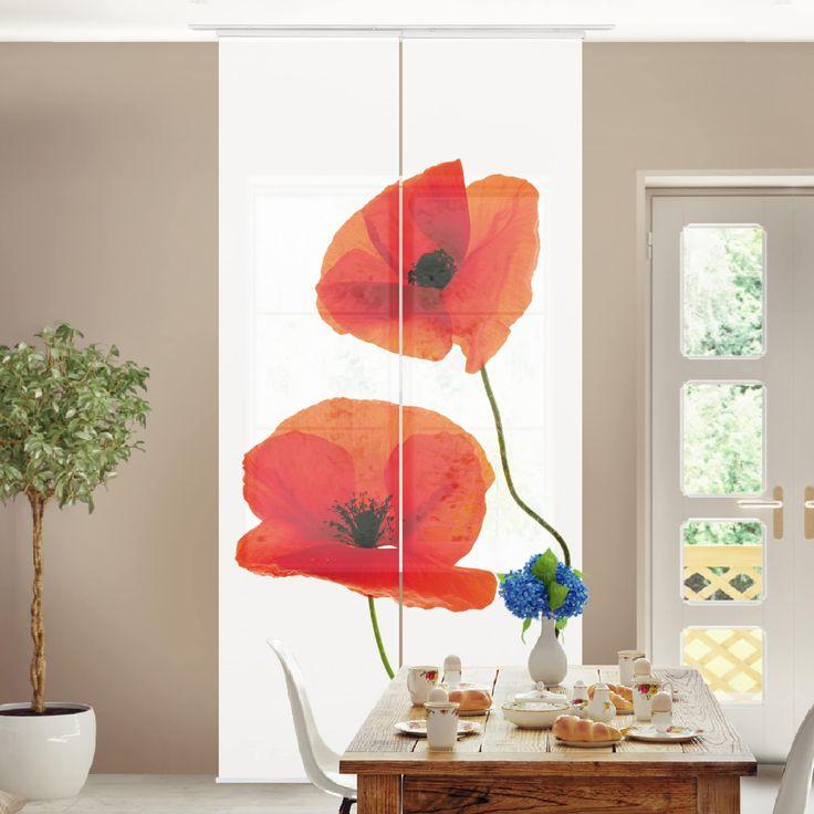 Schiebegardinen Set - Charming Poppies - 2 Flächenvorhänge