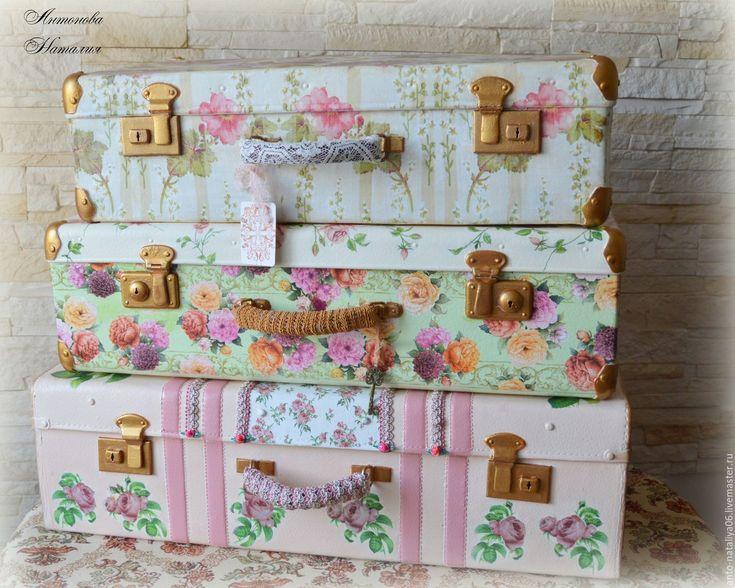 """Купить Чемоданы """"Ода розам"""" - чемодан декупаж, чемодан, интерьер спальни, для дома и интерьера, розы"""