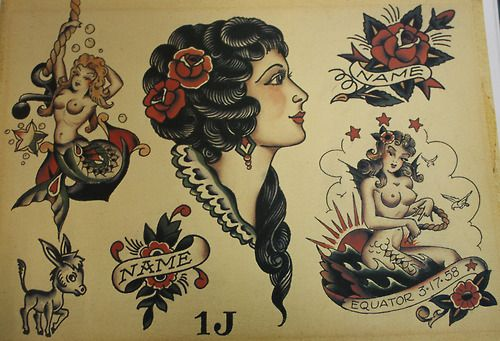 Sailor jerry mermaid tattoo flash cr ation d 39 art for Sailor jerry gypsy tattoo