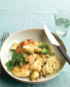 Chicken with Artichokes and Angel Hair -