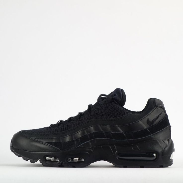 Nike Air Max 95 Essential Triple Plain Black Mens Trainers Shoes Sneakers 2016 #Nike #CasualTrainers