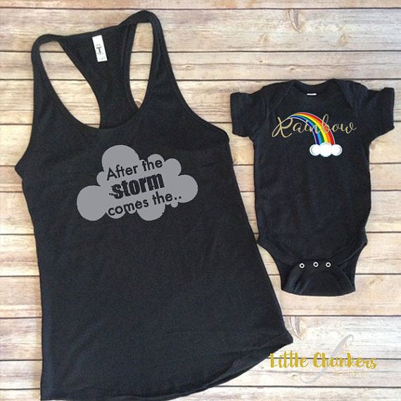 Rainbow Baby Set  After the Storm mommy and me  by LittleChunkers