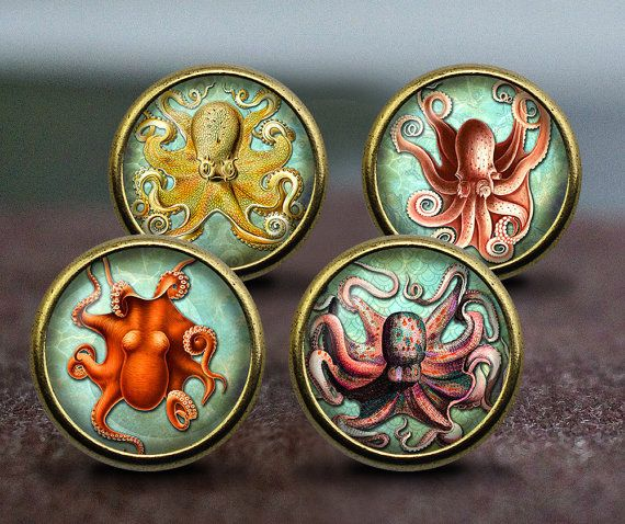 Vintage octopus illustration / Vintage Bronze Dresser knobs cabinet Dresser Knobs pull / Dresser Pull / Cabinet Knobs / Furniture Knobs  Diameter: 30mm Height: 28mm Diameter of Basement: 15mm Material: Zinc Alloy, Glass, Illustration One screw is included, Length 25mm. Diameter of drilling hole: M4 (4mm)  Please visit my shop for more knobs: https://www.etsy.com/shop/GibbsHouse  About Screws: Screws included. 1 (25 mm) length as default. If you need other length (available in 16mm, 30mm…