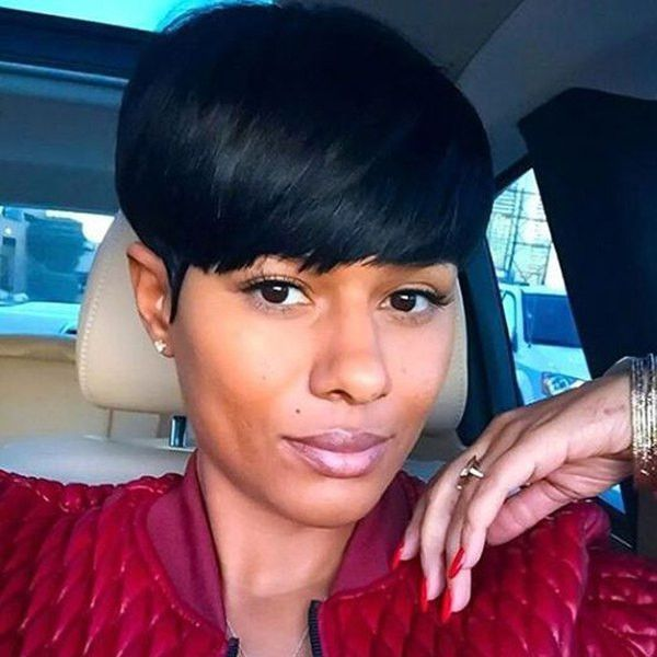 Vogue Ultrashort Full Bang Capless Short Straight Black Women's Synthetic Wig