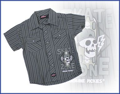 """""""Genuine Dickies"""" Brand Boys Summer Cotton Self-Colour Striped Shirt with Small Chest Pockets and """"Skate Zone"""" Skull Print.  ONLY - $12.95 here -http://www.kidsclothingrack.com.au/#!product/prd1/2795313911/dickies-summer-striped-shirt-charcoal"""