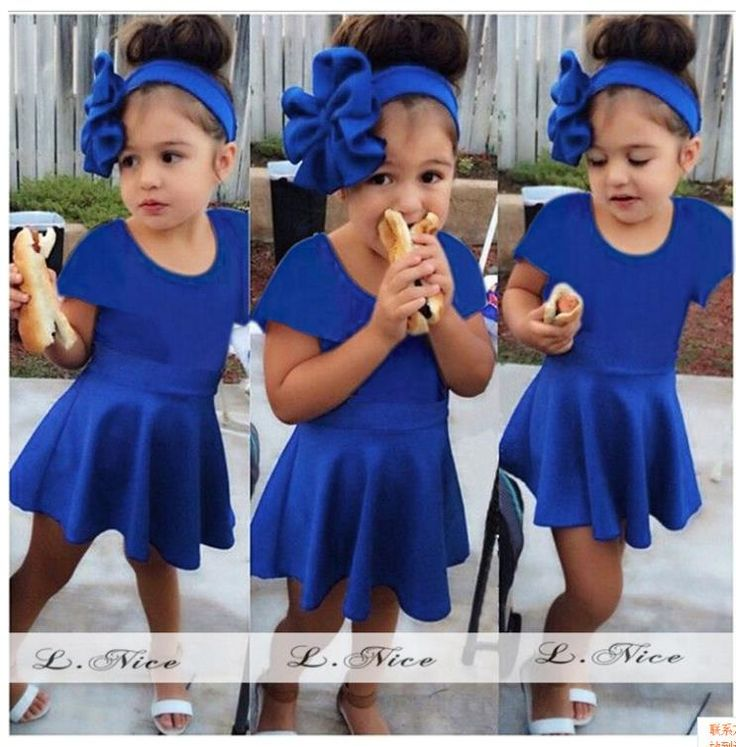 Pas cher 2015 l 39 europe b b s filles summer fashion manches robe robes brand design blue princess - Vetement bebe fille fashion ...