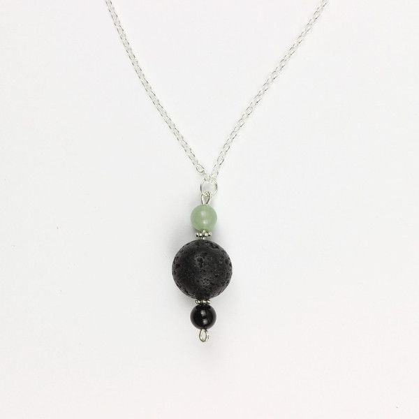 Happy-go-lucky Necklace | Green Aventurine and Black Onyx for luck, lava stone to diffuse essential oils