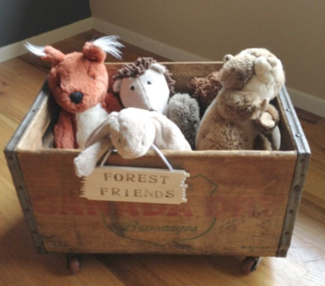Wooden Crate on wheels Toy Box                              …