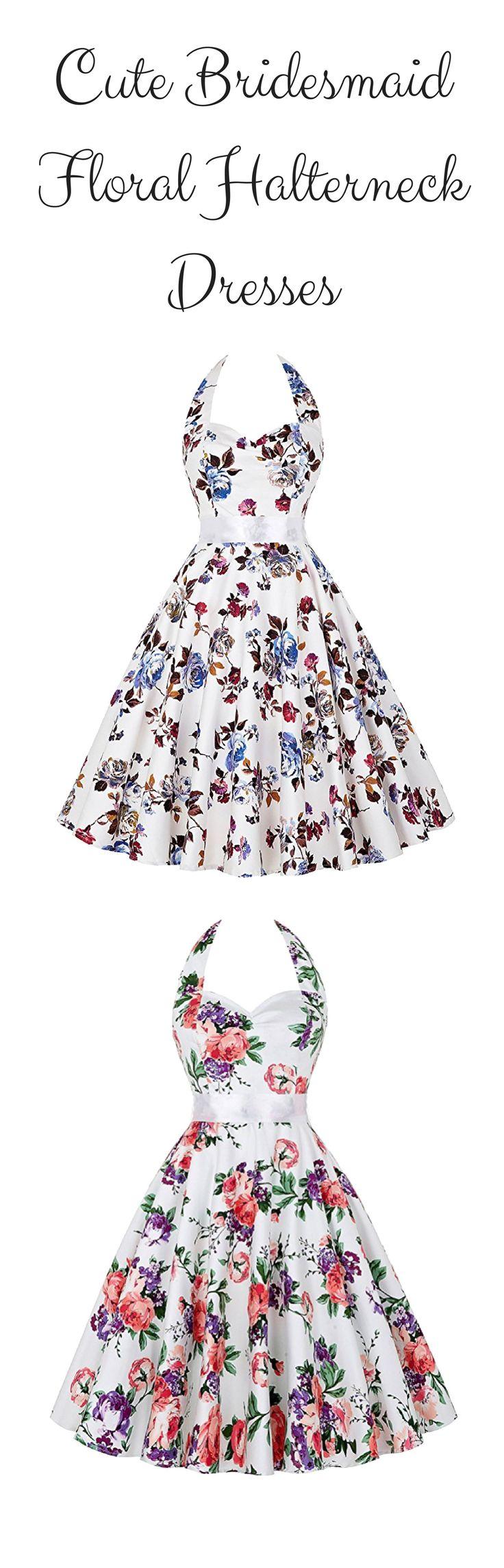 Cute bridesmaid floral halterneck dresses - GRACE KARIN Women's Halter 1950s Vintage Wiggle Dress for Party Cocktail - https://www.amazon.com/GRACE-KARIN-Womens-Vintage-Cocktail/dp/B00X53D0TC/ref=as_li_ss_tl?_encoding=UTF8&refRID=MS2F8RXR5EK8KA7W9W8A&linkCode=ll1&tag=theweddingclu-20&linkId=d40fb5d2266b91cf2e24ba0aa02e4bbd